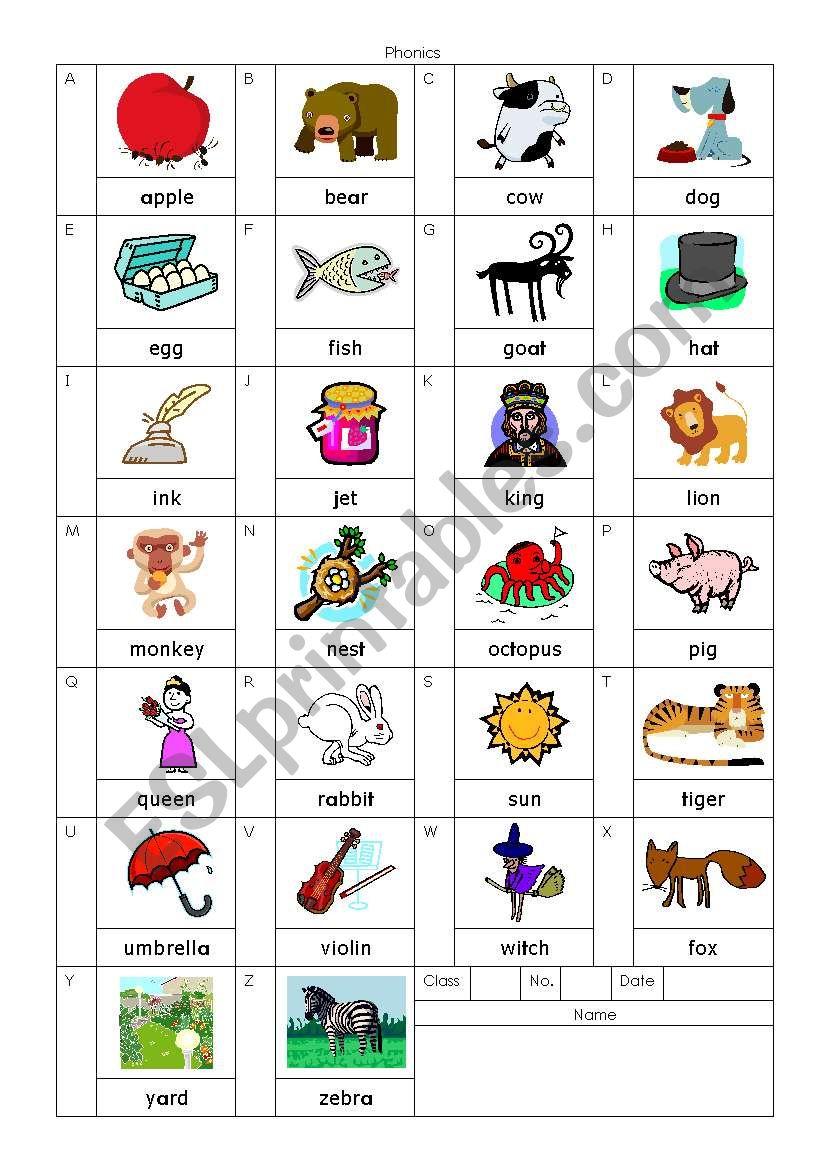 Phonics Alphabet Chart - Esl Worksheetnatsumeg in Worksheets Alphabet And Phonics