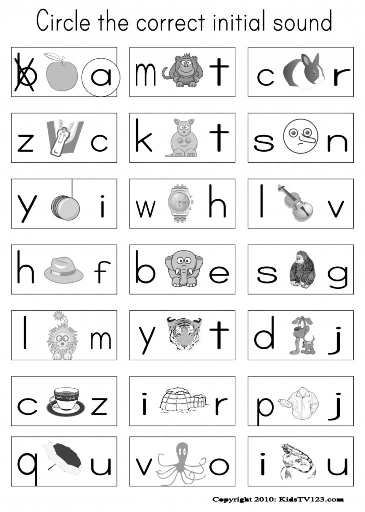 Phonics Worksheets For Kindergarten Free Koogra Throughout Letter A Worksheets For Kindergarten Pdf
