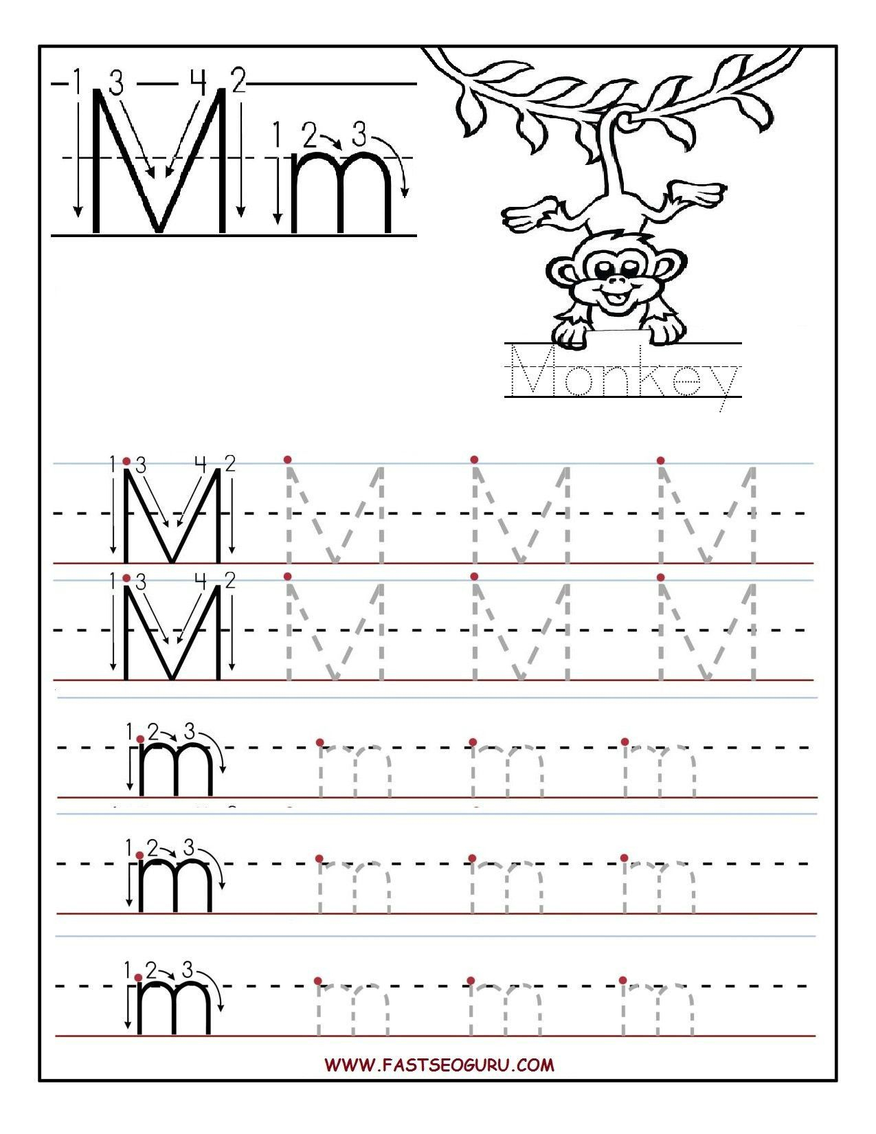 Pin On Kindergarten intended for Letter M Tracing Sheets
