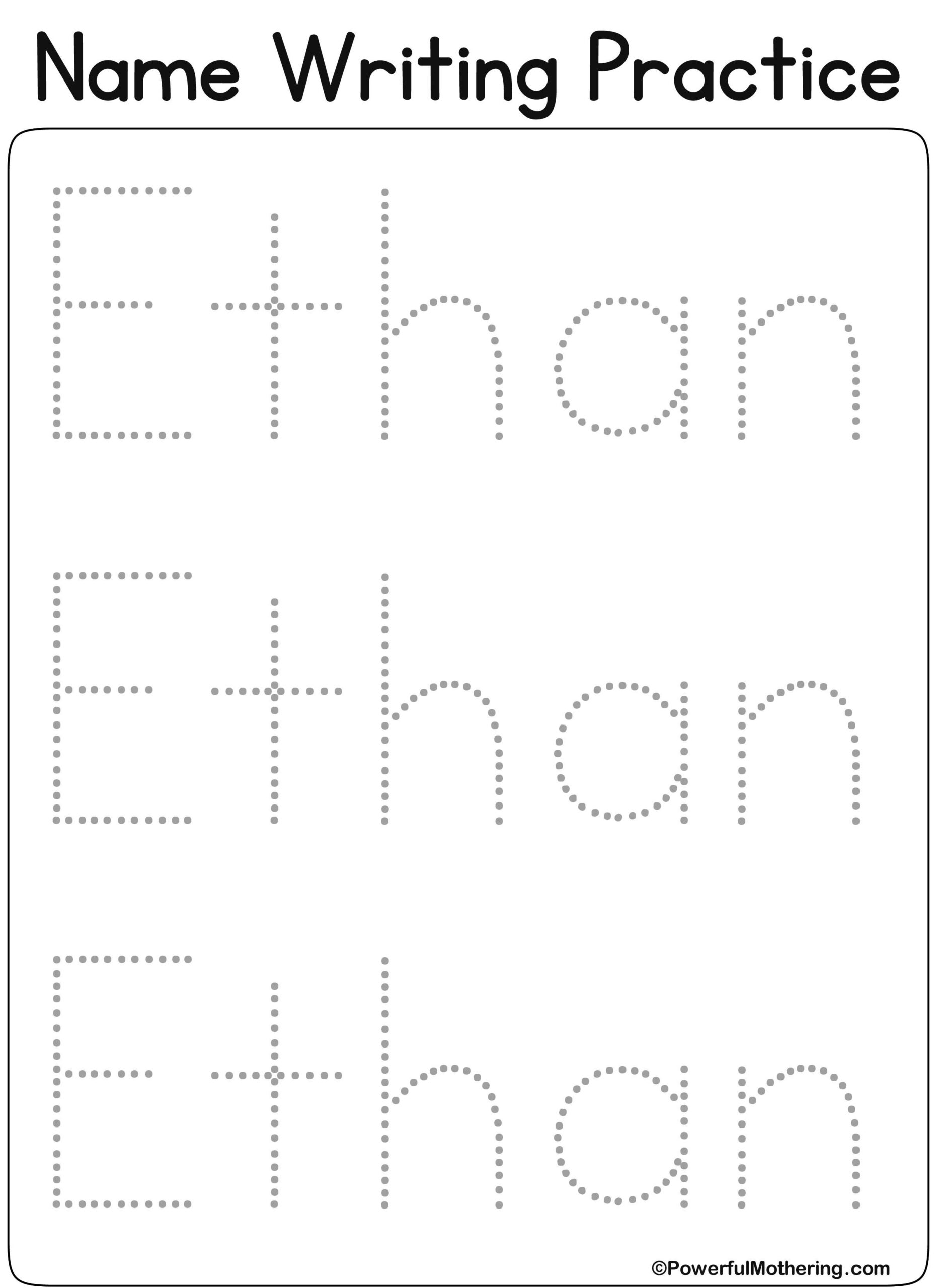 Pinhome Schooling On Home Schooling Curriculum   Name throughout Tracing Name Ethan