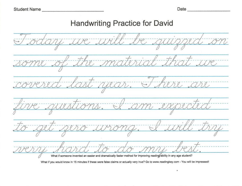Practice Handwriting Alphabet Worksheet Regarding Tracing Name David