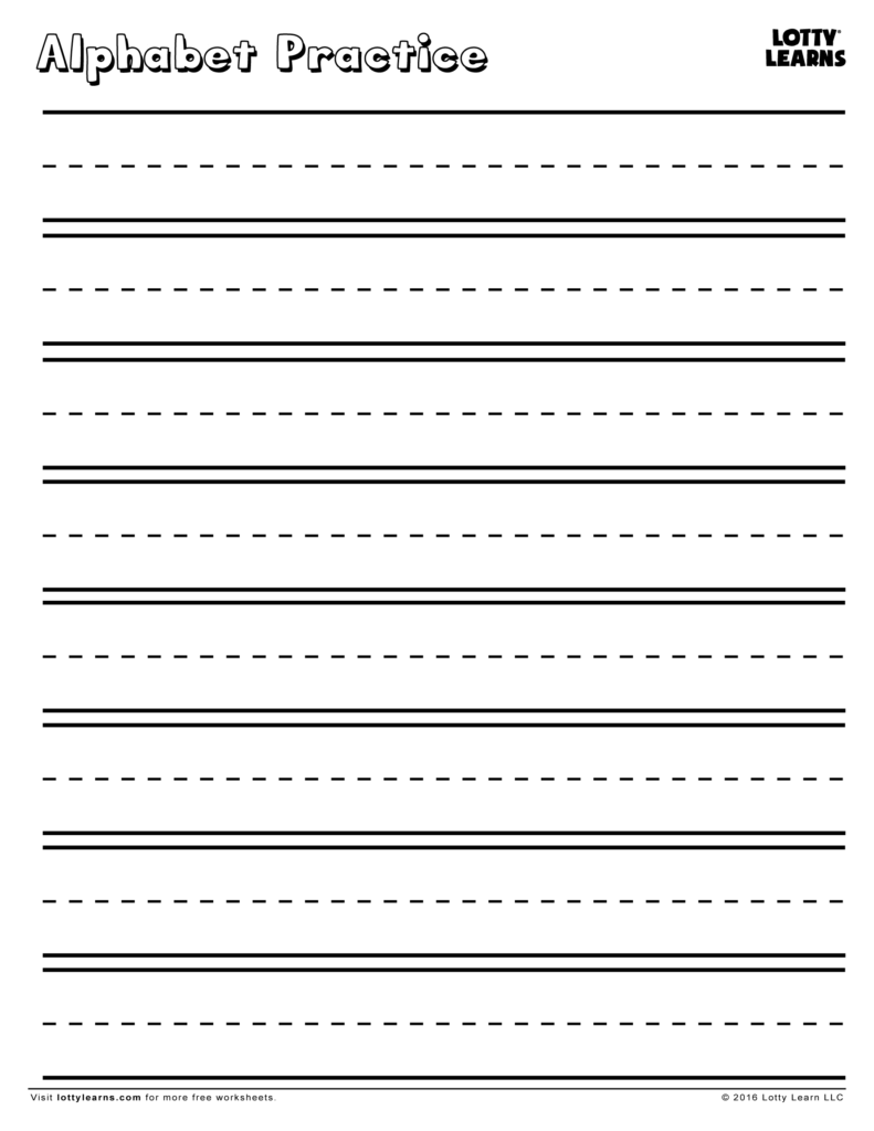 Practice Makes Perfect! Blank Alphabet Practice Sheet In Name Tracing With Blank Lines