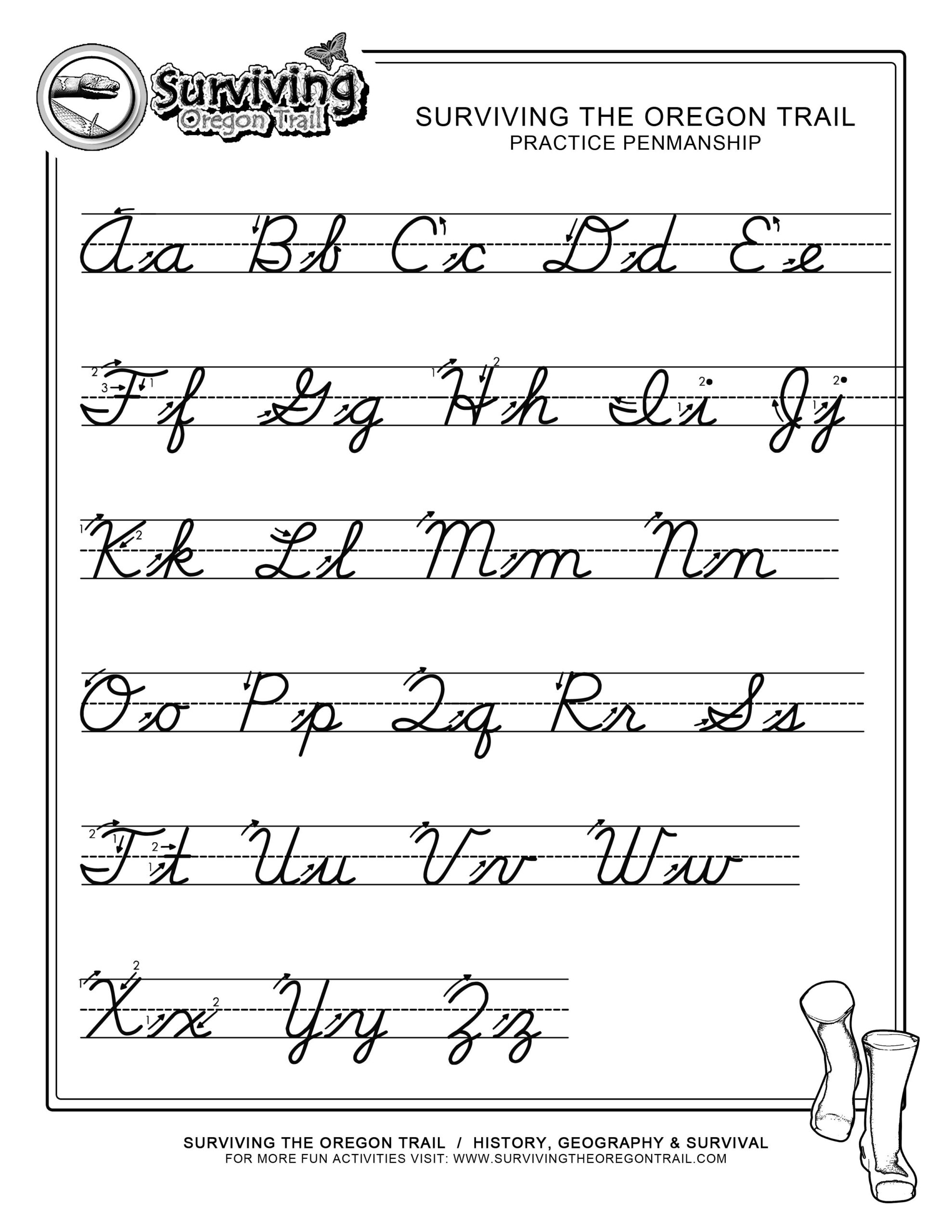 Practice Penmanship – Free Abc's Printable Cursive Writing for Alphabet Worksheets Cursive