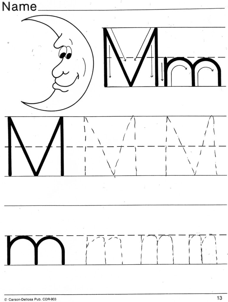 Practice Sheets For Parents With Regard To Letter M Tracing Page