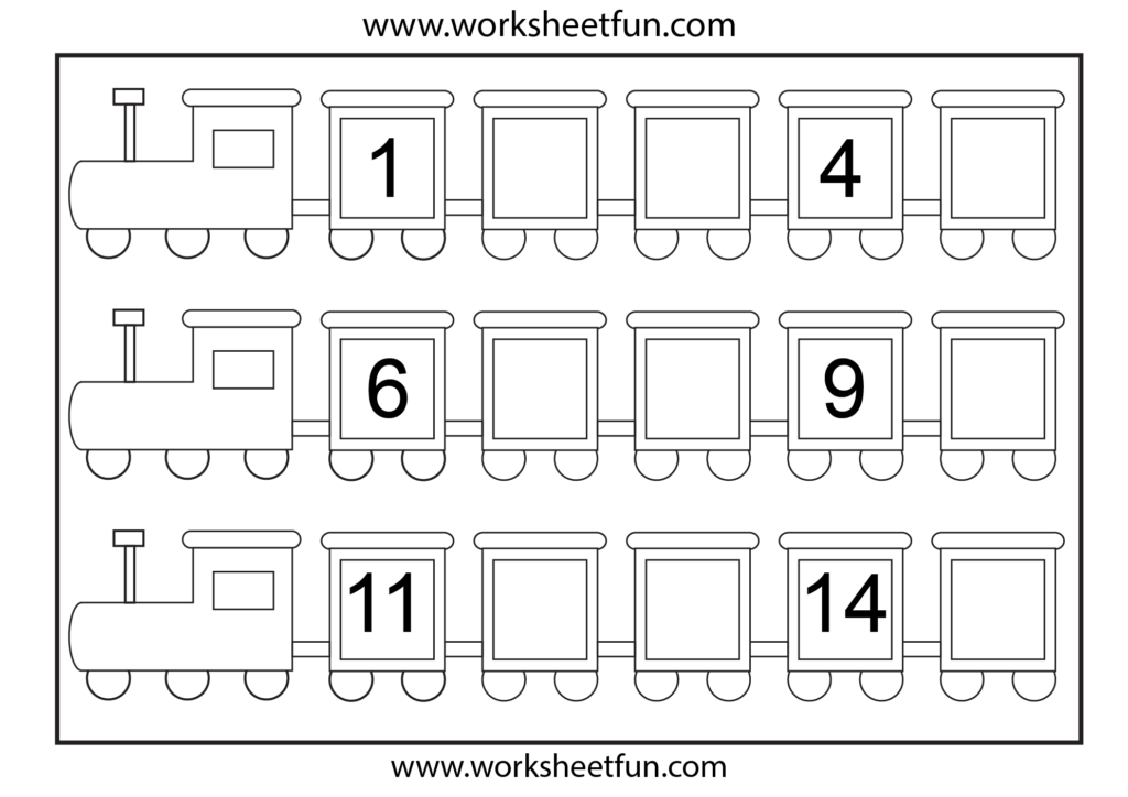 Preschool Missing Number Worksheets | Number Train – Missing Regarding Alphabet Tracing Train