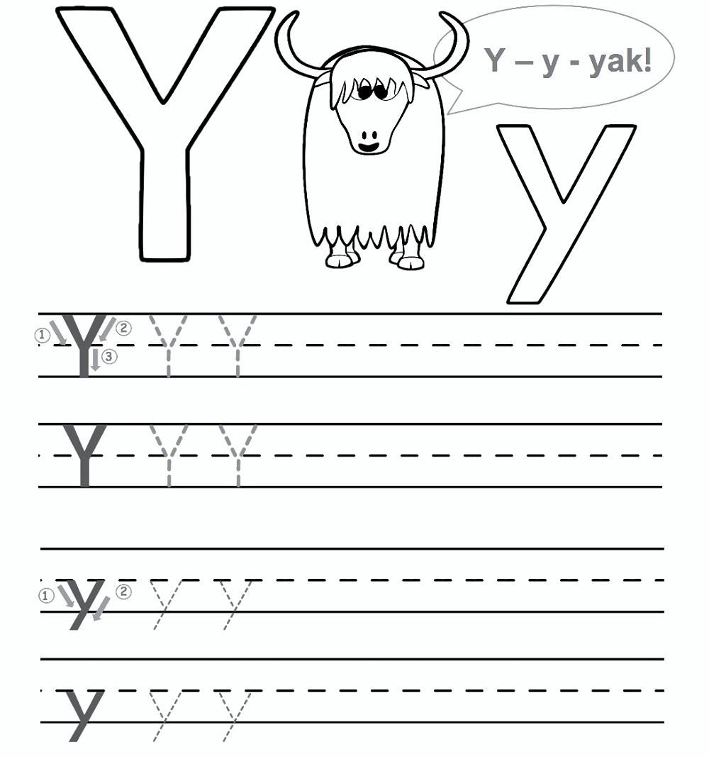Preschool Worksheet Gallery: Letter Y Worksheets For Preschool within Letter Y Tracing Sheet