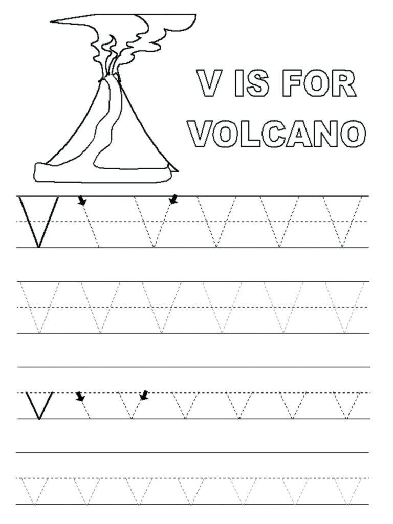 Preschool Worksheets With The Letter V   Clover Hatunisi For Letter V Tracing Preschool