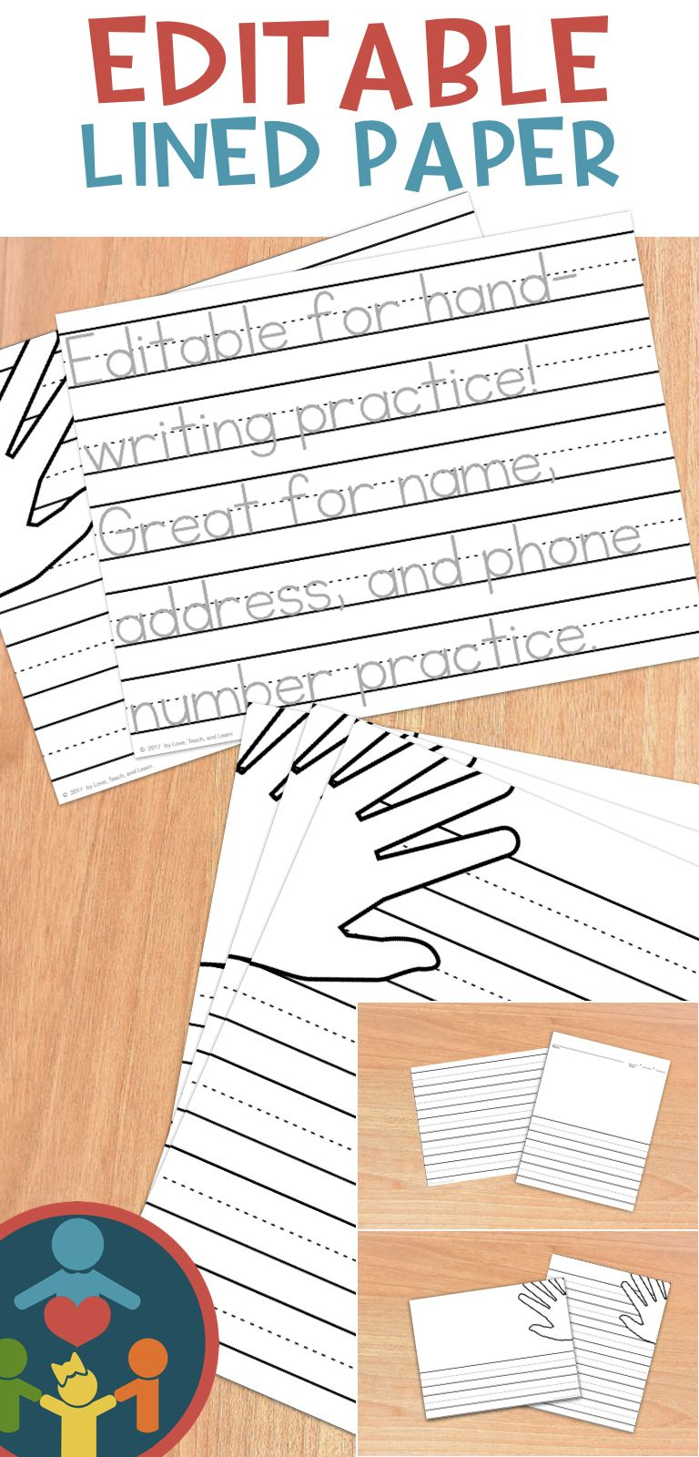 Primary Editable Writing Paper : Print Handwriting | Writing within Letter Tracing Editable