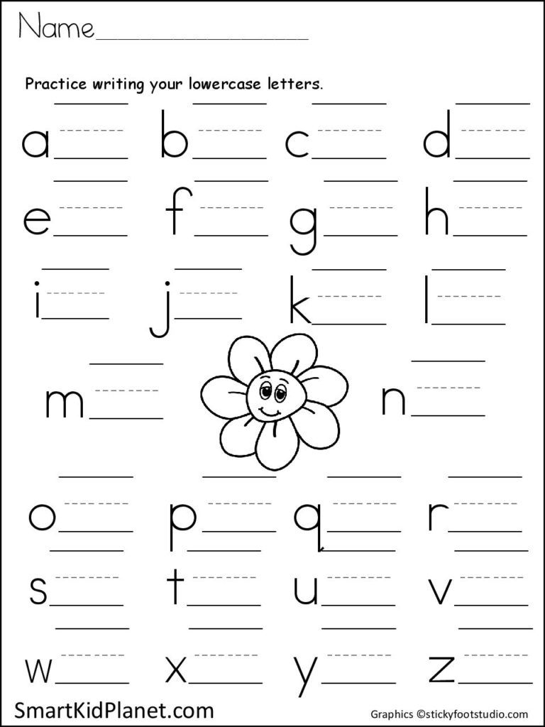 Print Practice Lowercase Letters (Spring Flower | Printing throughout Alphabet Practice Worksheets For Kindergarten