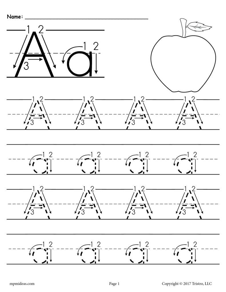 Printable Letter A Tracing Worksheet With Number And Arrow intended for Alphabet Handwriting Worksheets With Arrows
