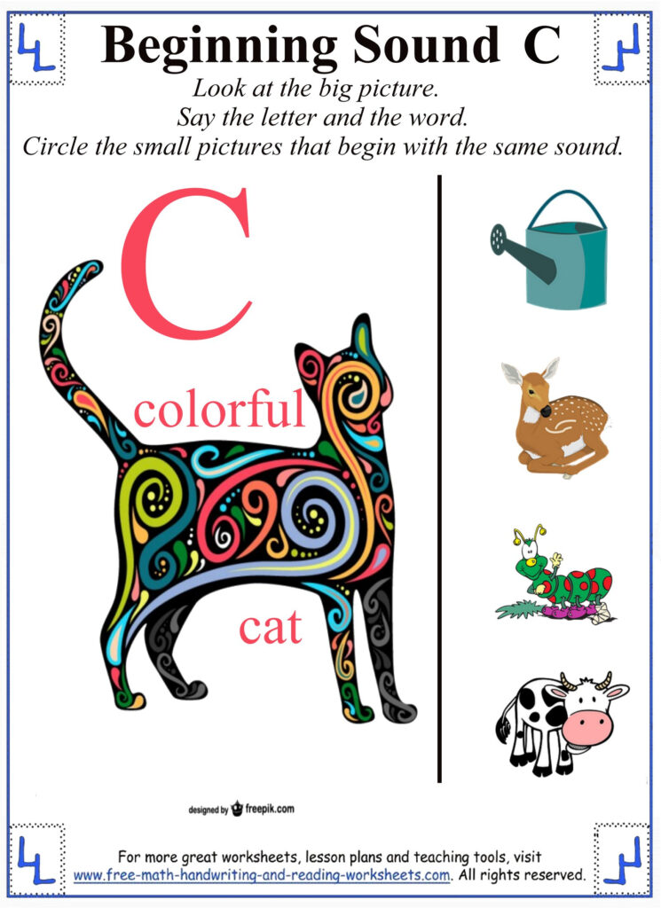 Printable Letter C Worksheets & Activities Within Letter C Worksheets For First Grade