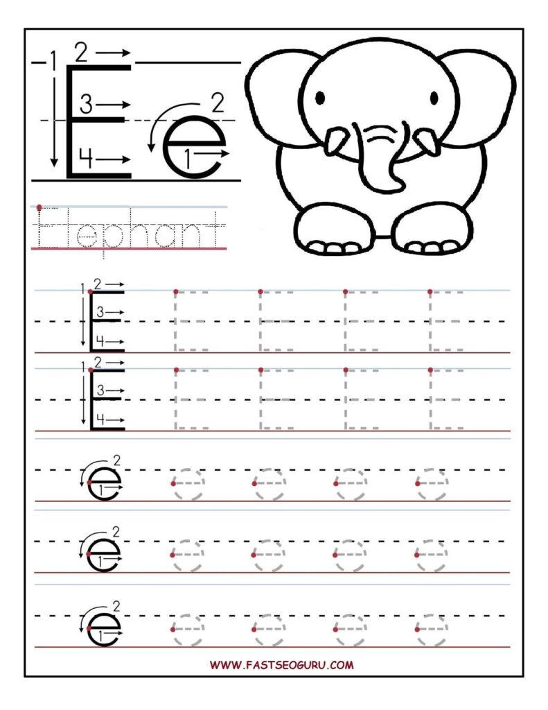 Printable Letter E Tracing Worksheets For Preschool Inside Letter Tracing E
