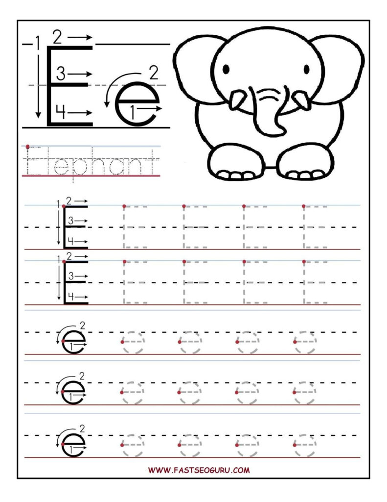Printable Letter E Tracing Worksheets For Preschool With Letter E Worksheets For Toddlers