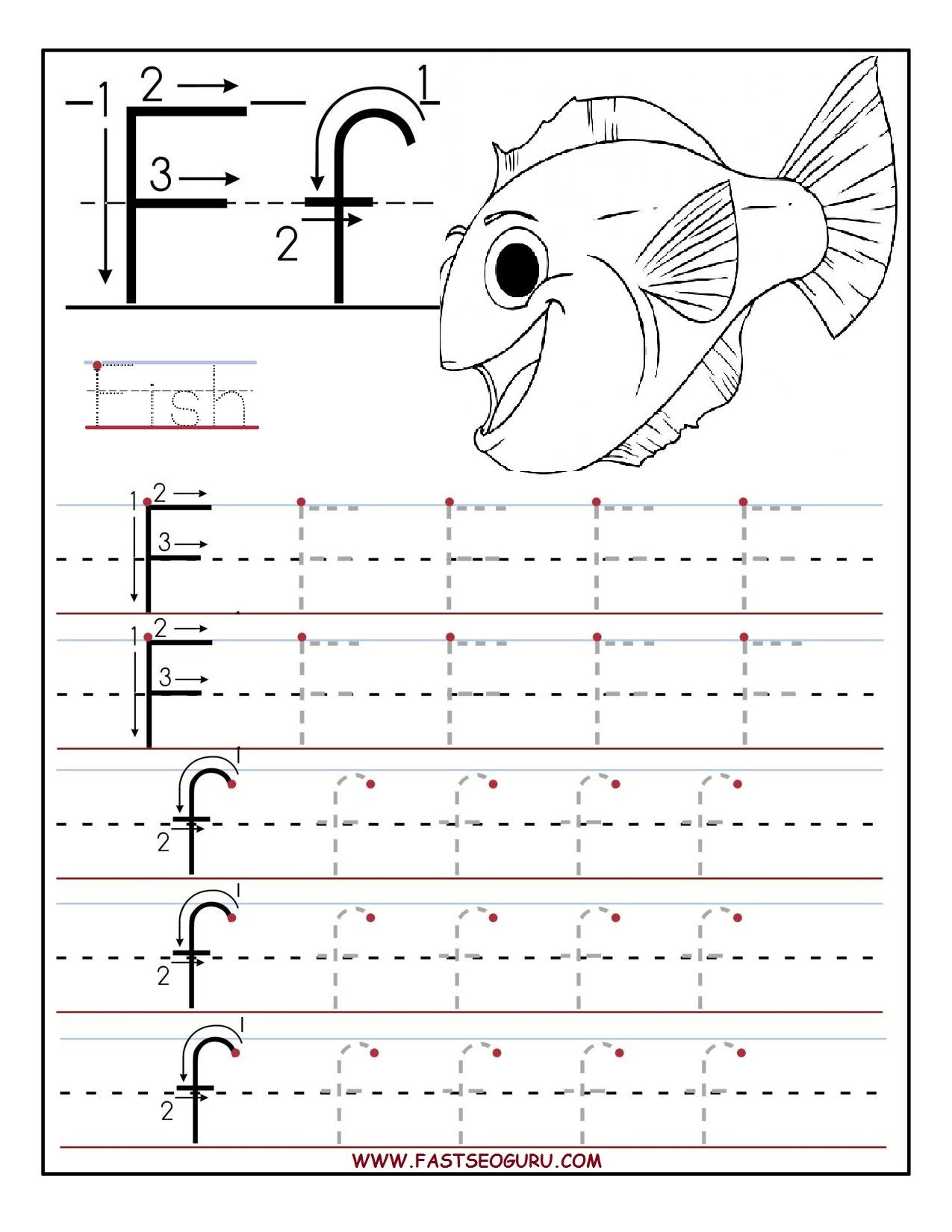 Printable Letter F Tracing Worksheets For Preschool regarding Letter F Worksheets For Kindergarten