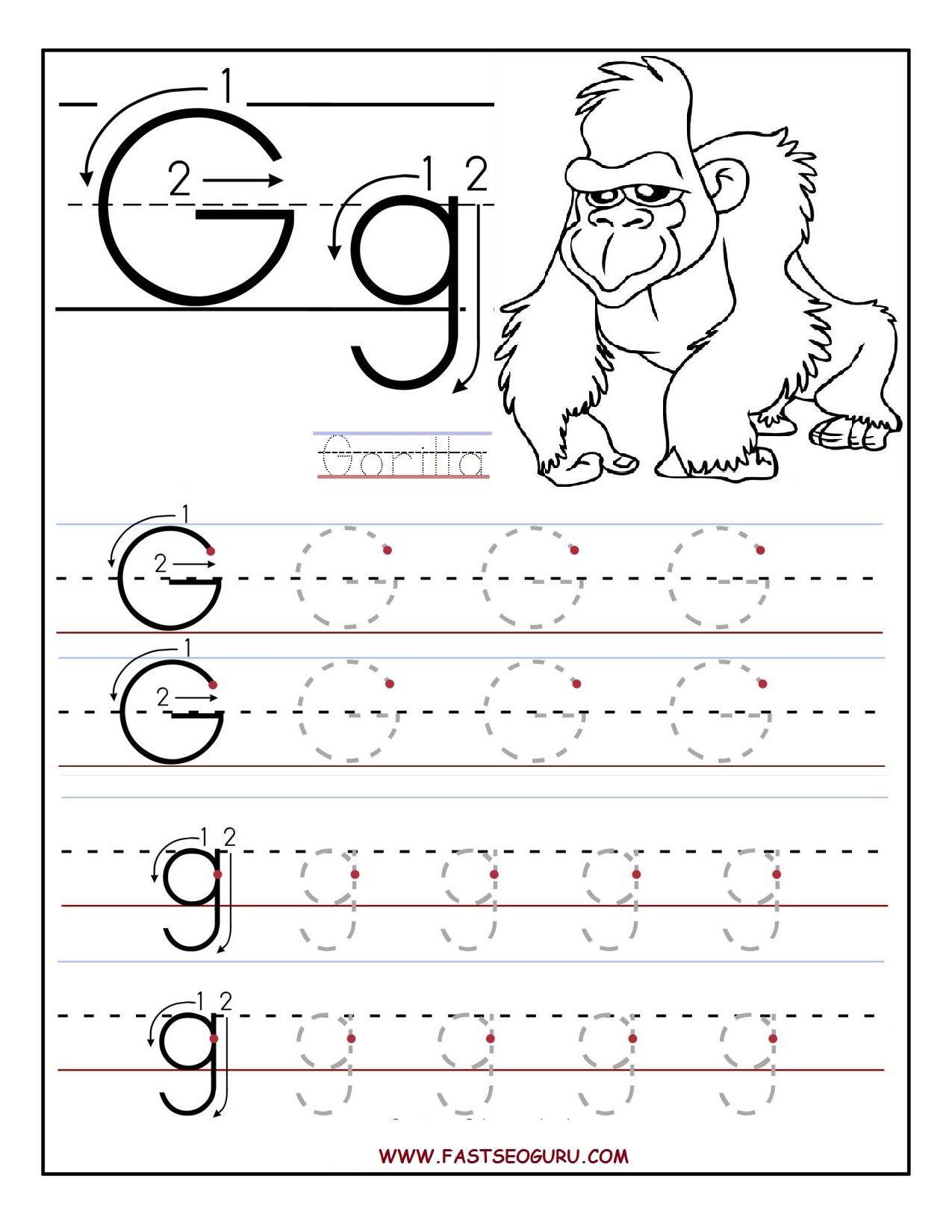 Printable Letter G Tracing Worksheets For Preschool | 파닉스 regarding Letter G Worksheets For Pre K