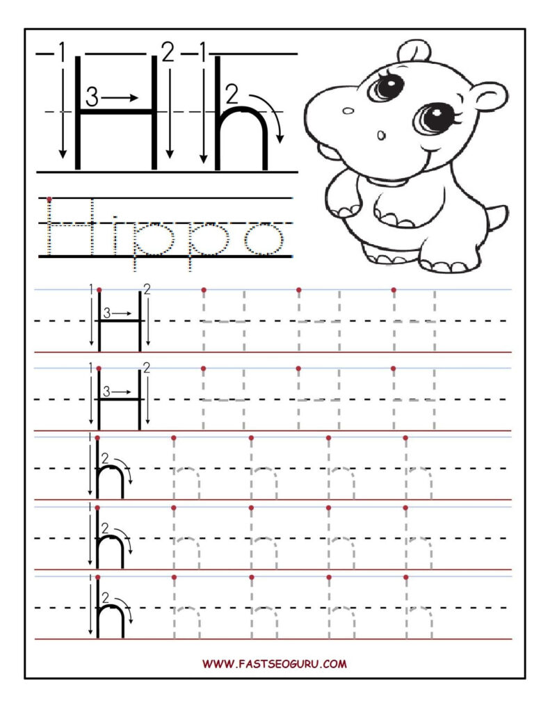 Printable Letter H Tracing Worksheets For Preschool Intended For Letter Tracing H