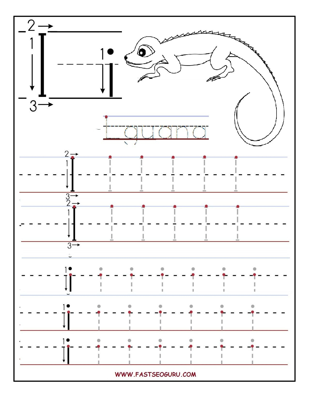 Printable Letter I Tracing Worksheets For Preschool throughout Letter I Tracing Sheet