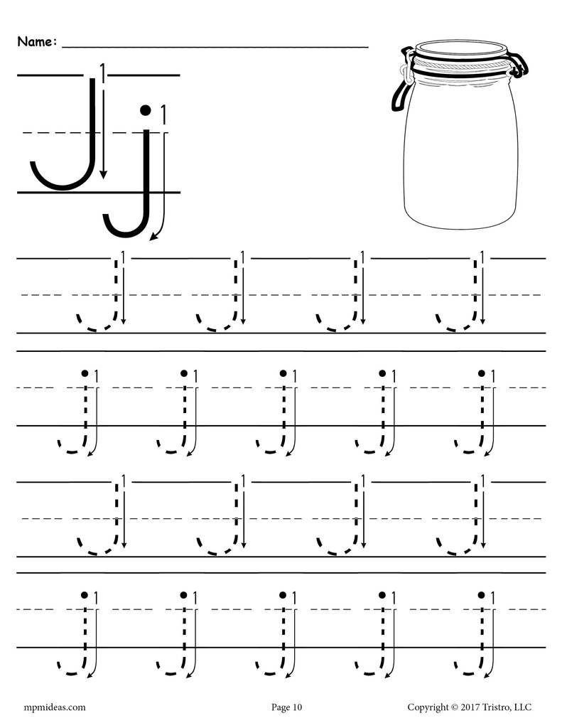 Printable Letter J Tracing Worksheet With Number And Arrow intended for Letter J Worksheets For Prek