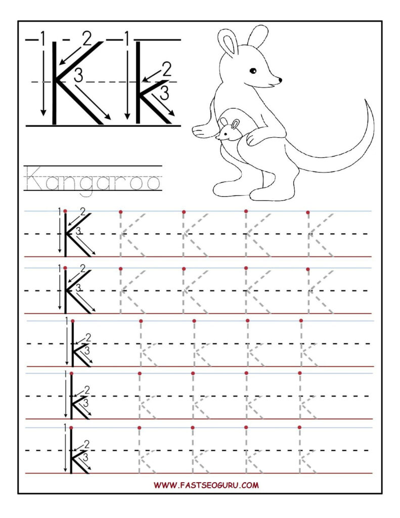 Printable Letter K Tracing Worksheets For Preschool With Letter Tracing K