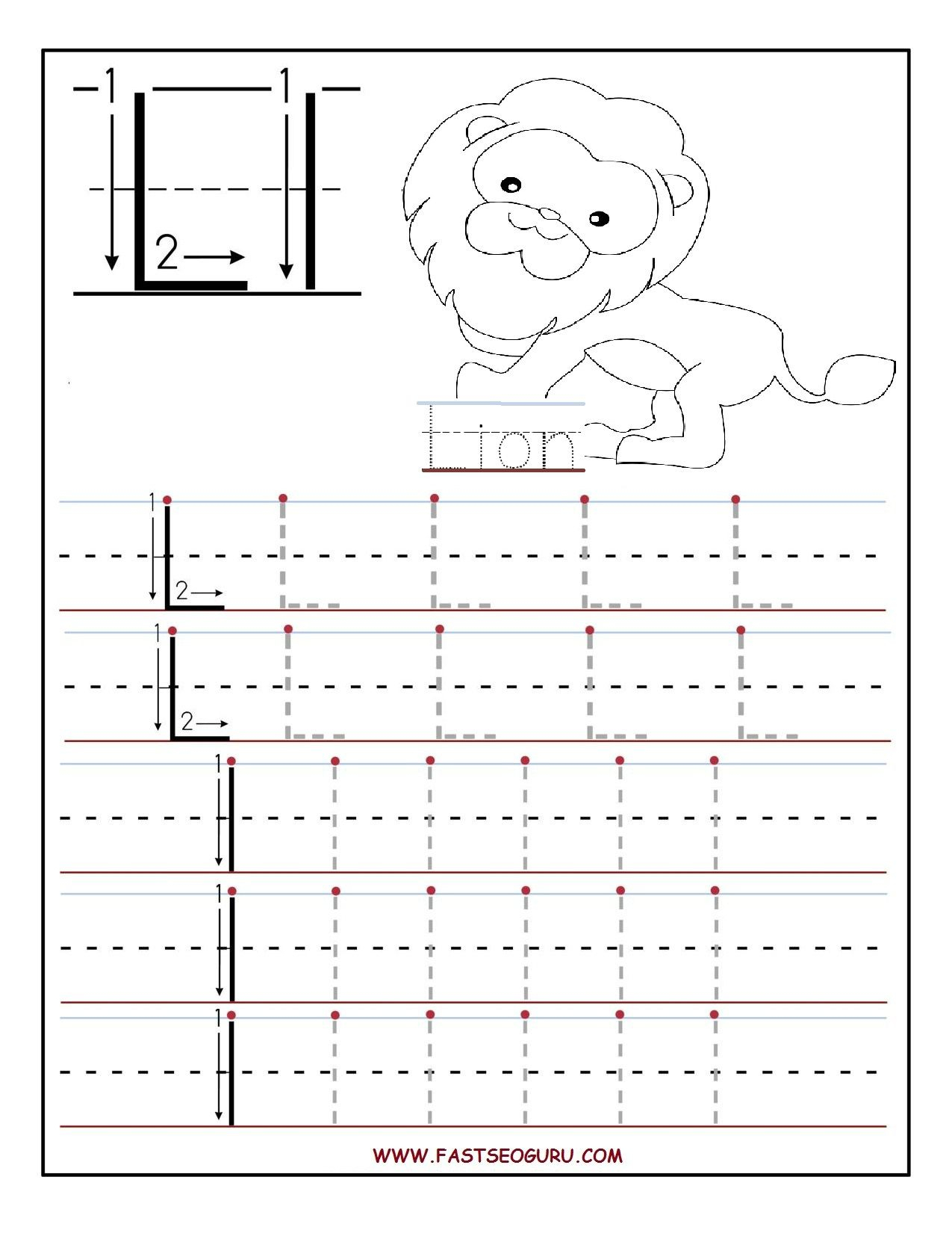 Printable Letter L Tracing Worksheets For Preschool throughout L Letter Tracing