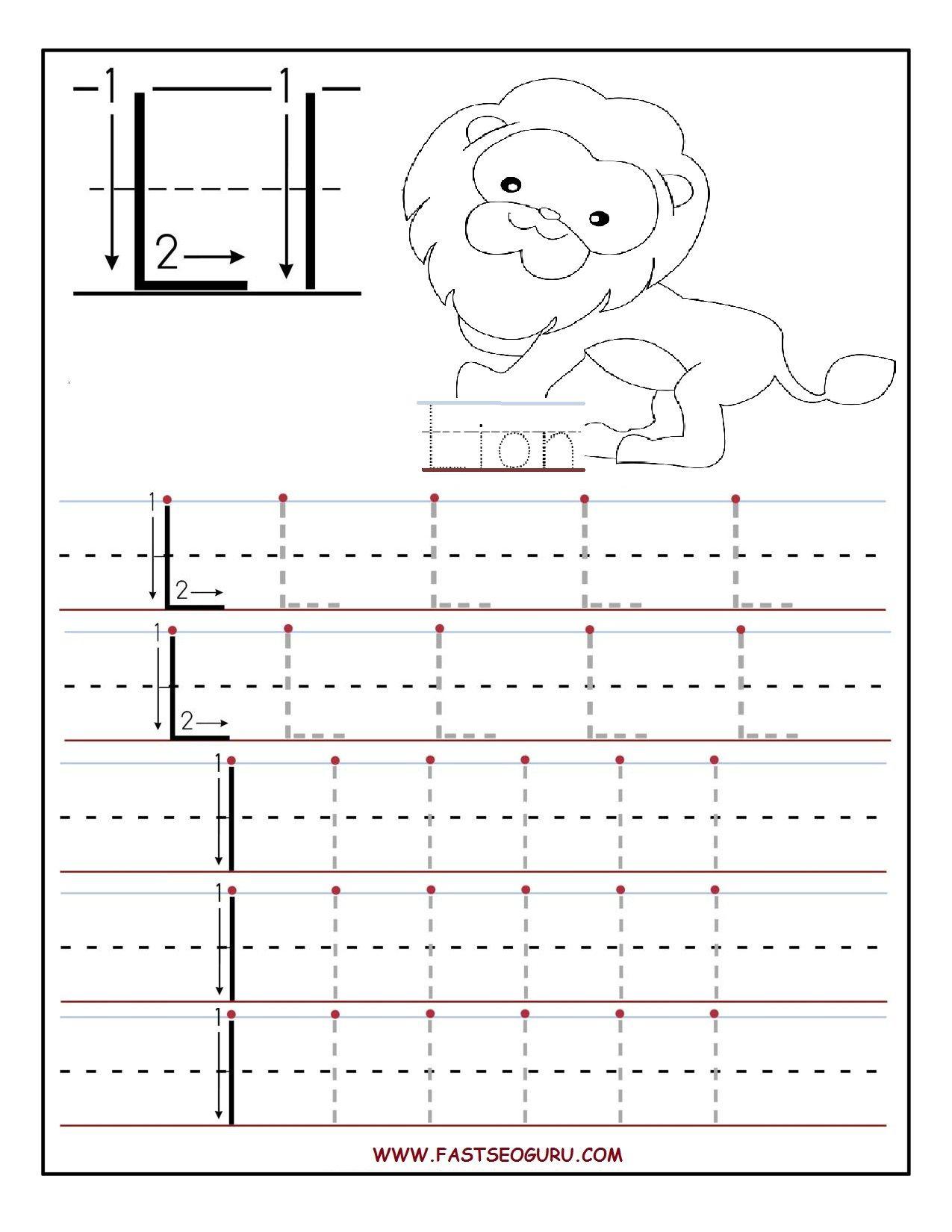 Printable Letter L Tracing Worksheets For Preschool with Letter L Worksheets Twisty Noodle
