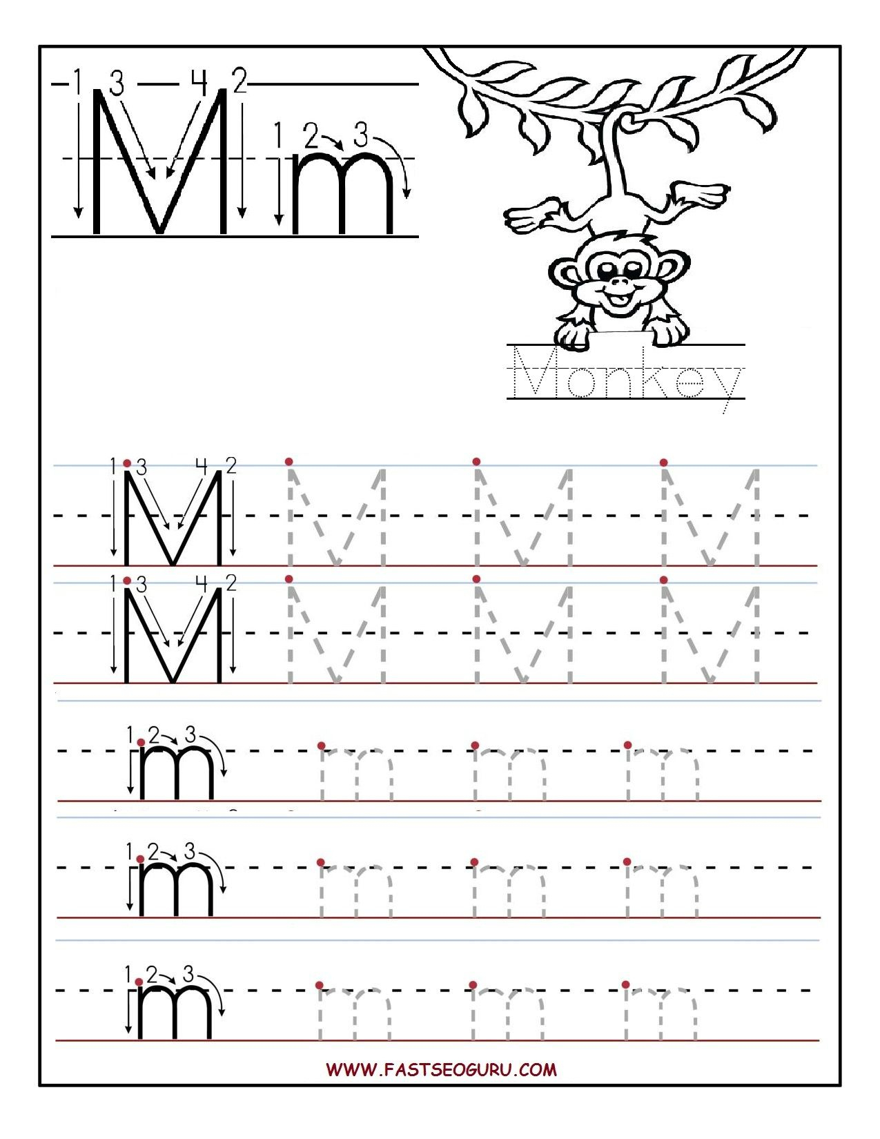 Printable Letter M Tracing Worksheets For Preschool in Letter M Worksheets Free