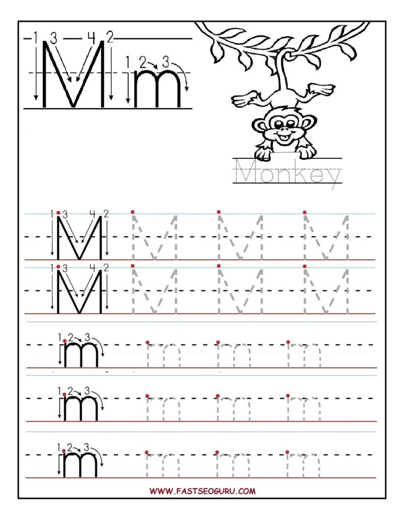 Printable Letter M Tracing Worksheets For Preschool Throughout Letter Tracing M