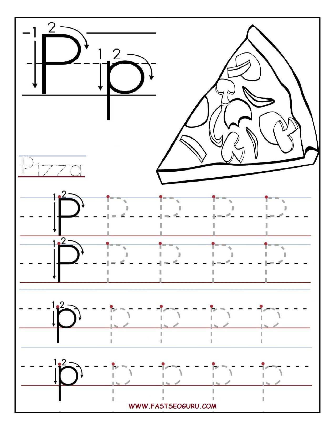 Printable Letter P Tracing Worksheets For Preschool in Letter P Tracing Sheet