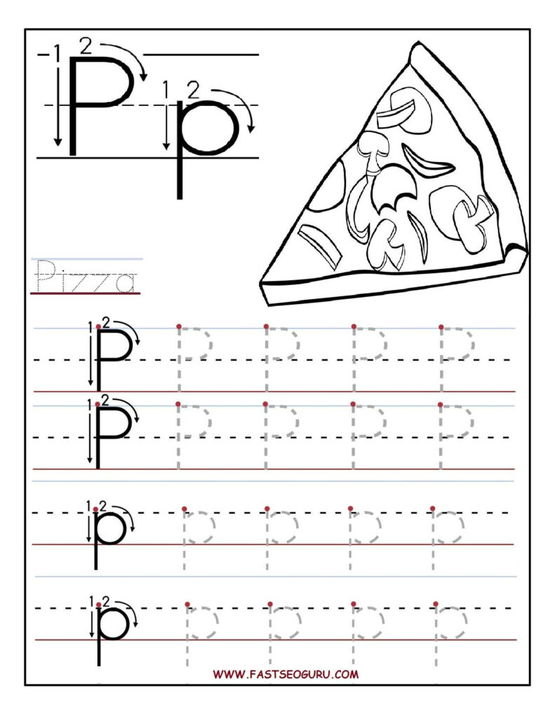 Printable Letter P Tracing Worksheets For Preschool Regarding Letter P Tracing Printable