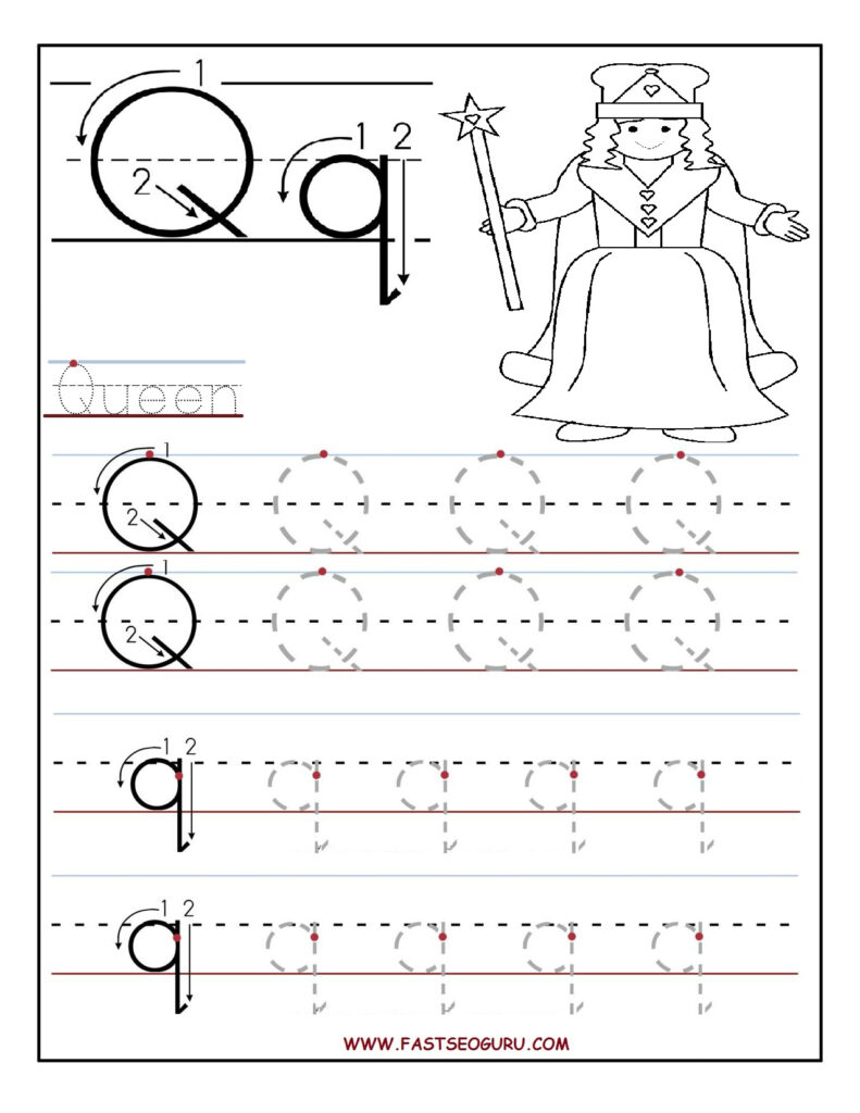 Printable Letter Q Tracing Worksheets For Preschool With Letter O Tracing Printable