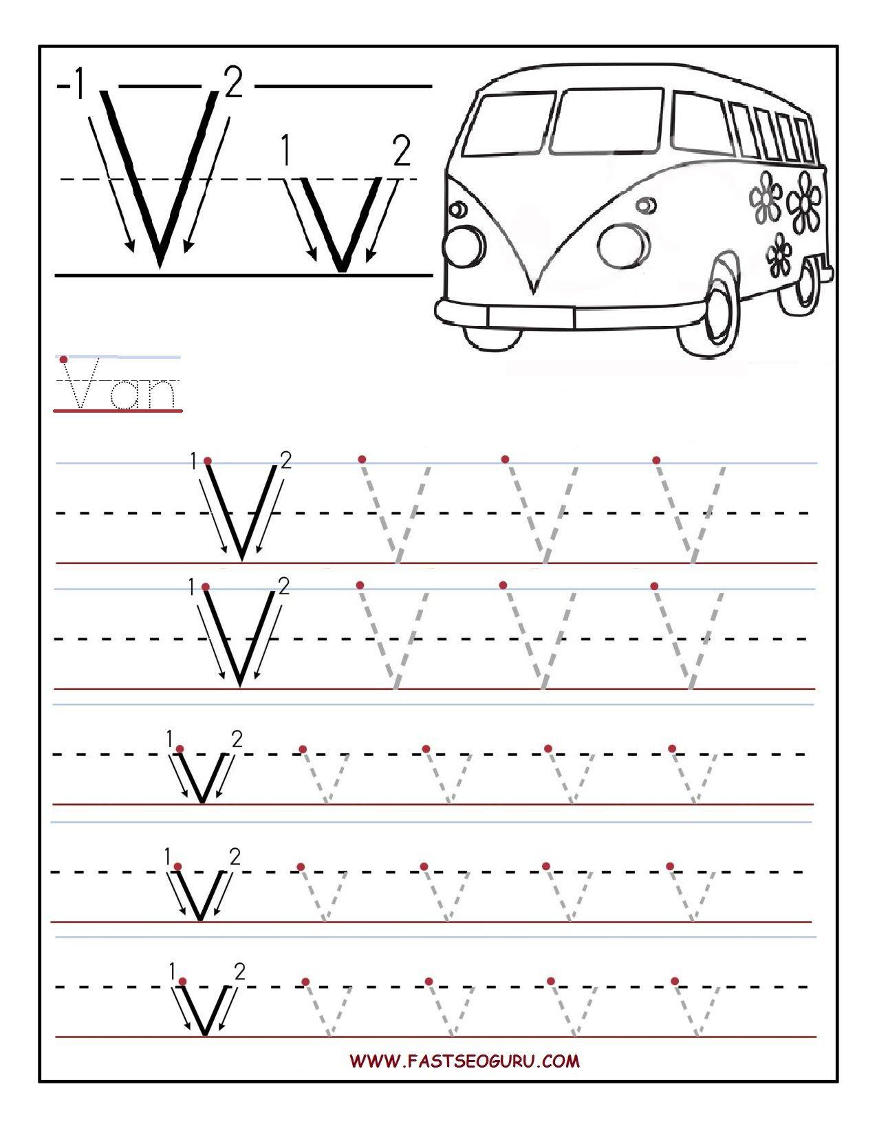 Printable Letter V Tracing Worksheets For Preschool with Letter V Worksheets For Prek