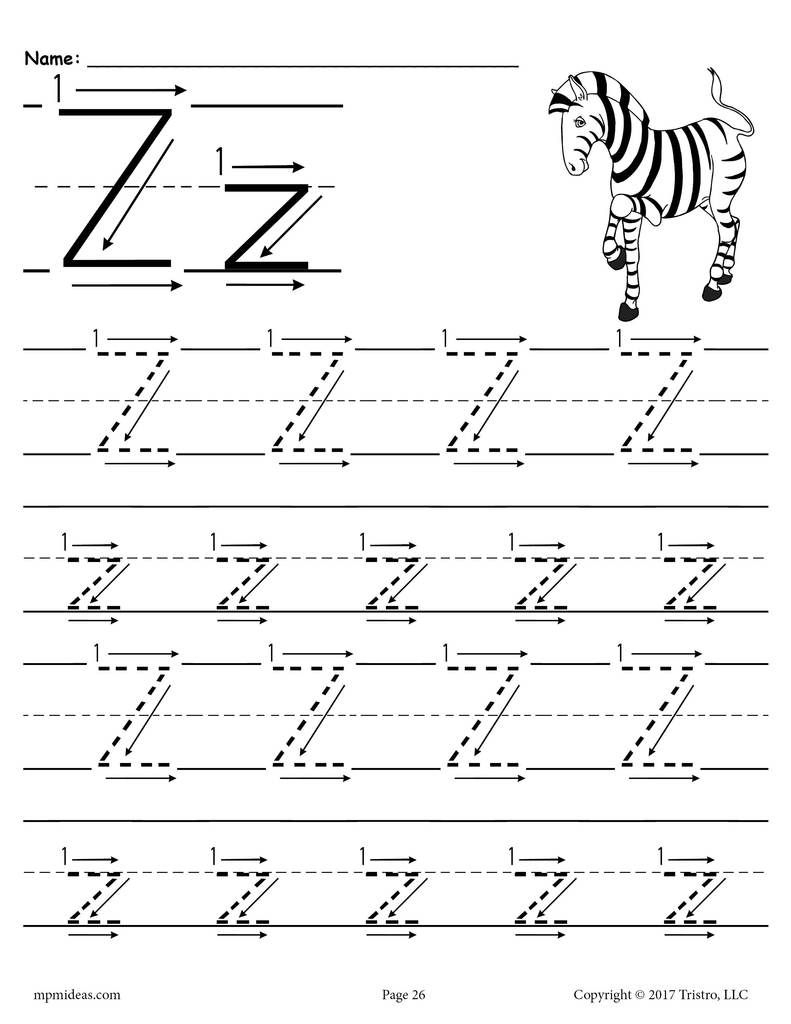 Printable Letter Z Tracing Worksheet With Number And Arrow intended for Letter Z Tracing Worksheets Preschool