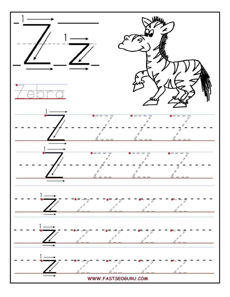 Printable Letter Z Tracing Worksheets For Preschool (With In Letter Z Tracing Worksheets Preschool