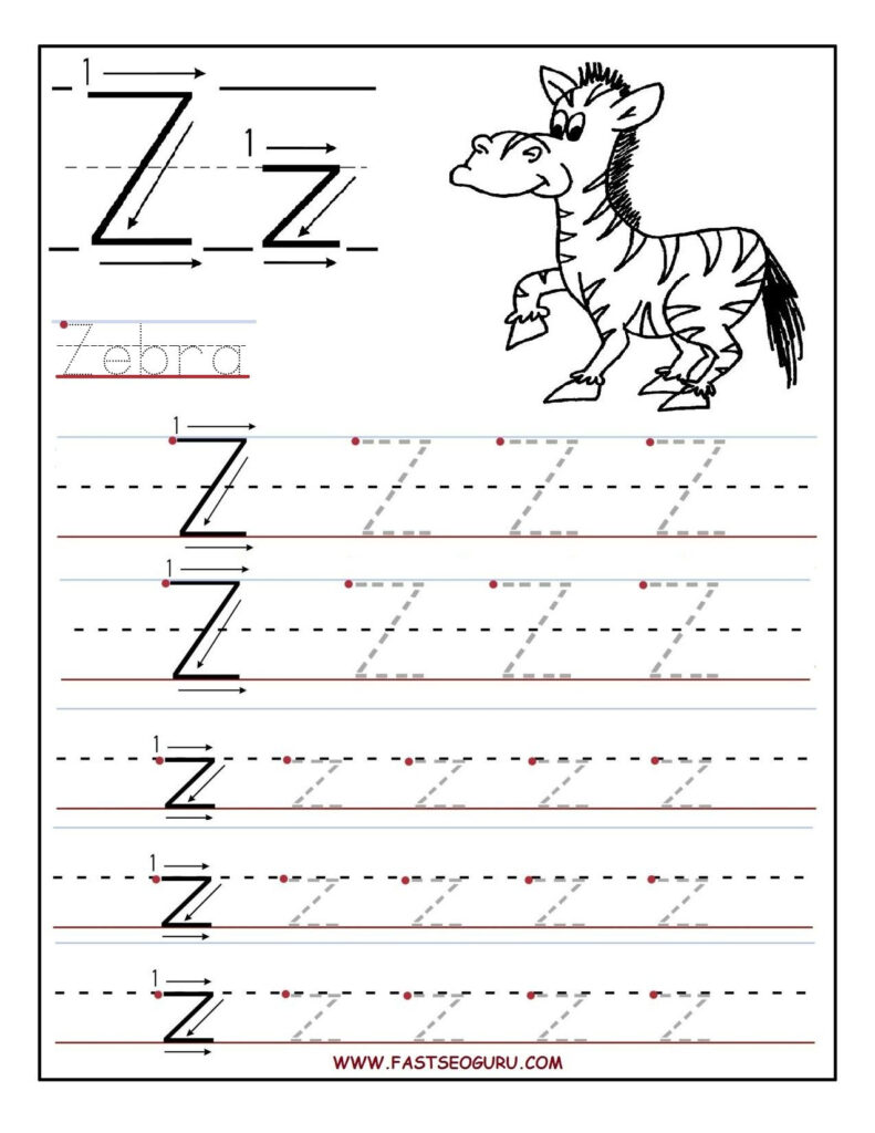 Printable Letter Z Tracing Worksheets For Preschool With Regard To Letter Z Worksheets Pre K