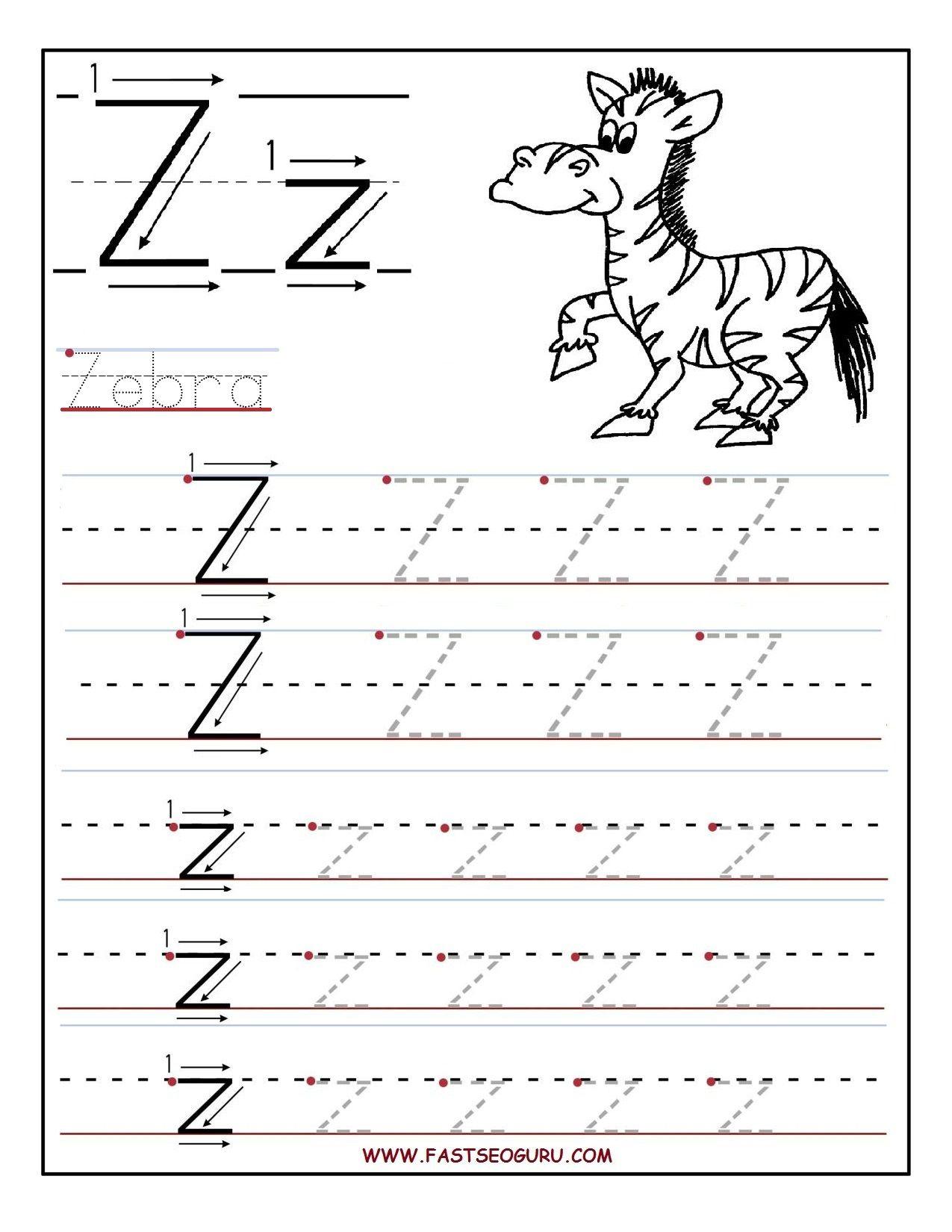 Printable Letter Z Tracing Worksheets For Preschool (With throughout Letter Z Tracing Worksheets