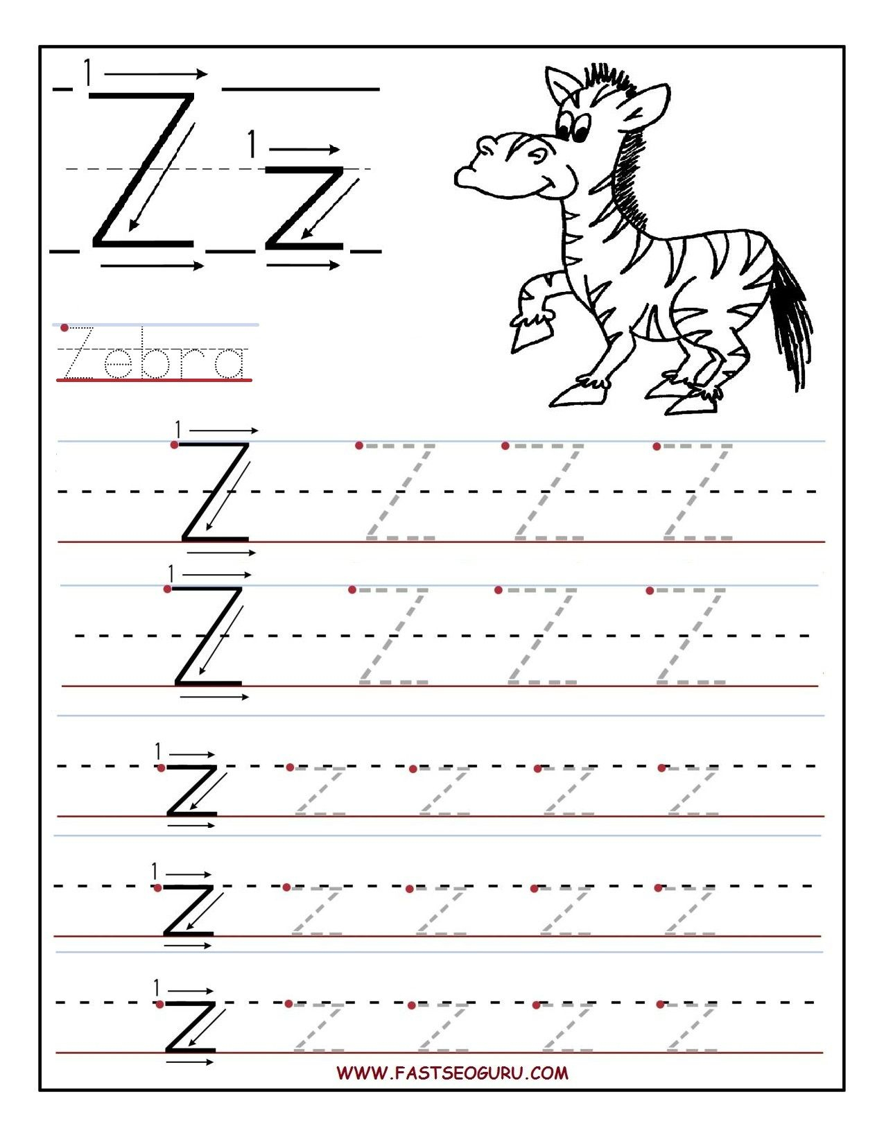 Printable Letter Z Tracing Worksheets For Preschool (With with Z Letter Tracing