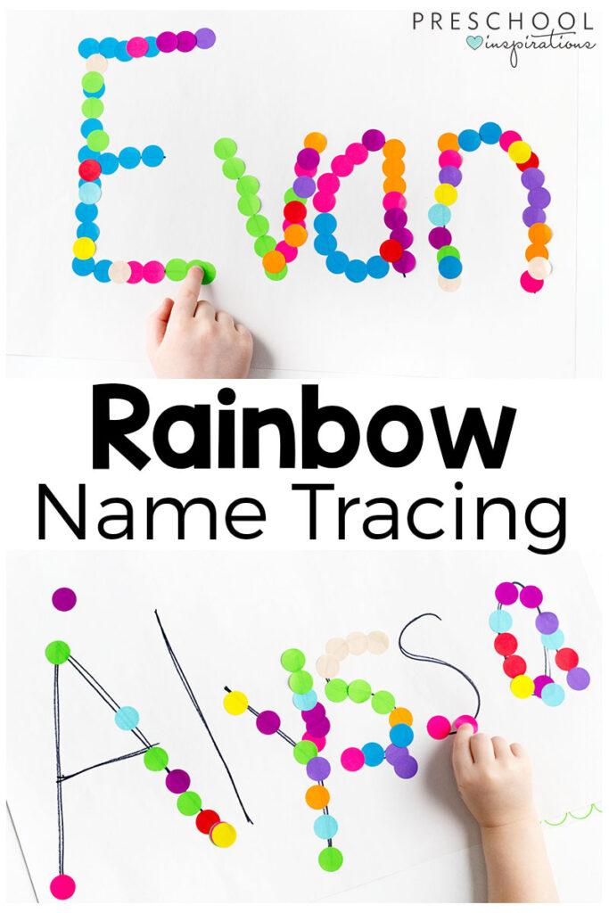Rainbow Name Tracing Activity   Preschool Inspirations Regarding Name Tracing Colored