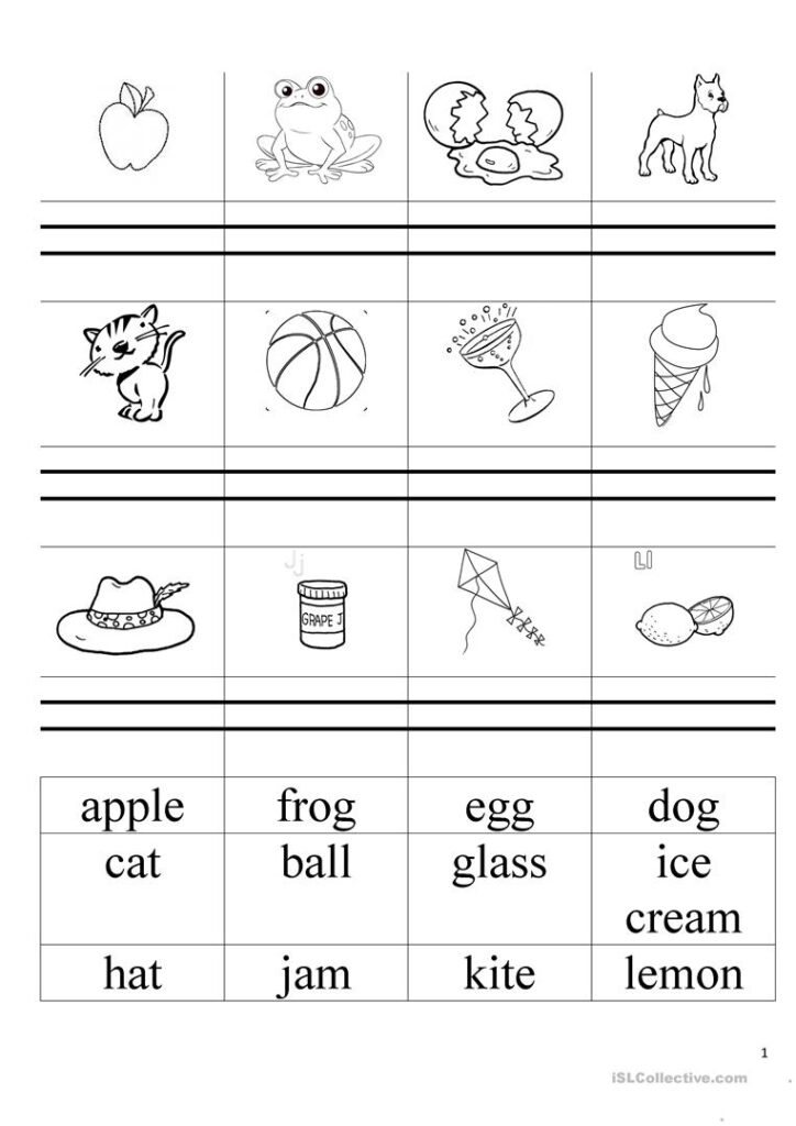 Simple Words (Alphabet Book) Welcome 1   English Esl Pertaining To Alphabet Words Worksheets