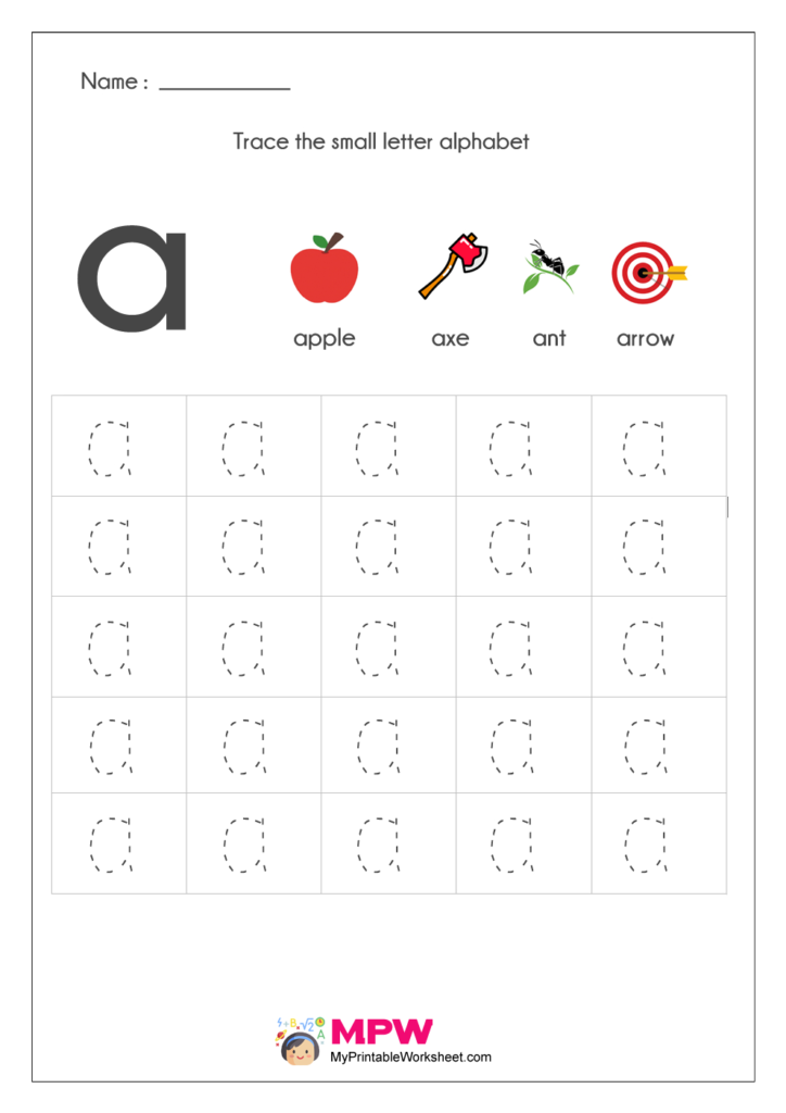 Small Letter Alphabets Tracing And Writing Worksheets Printable Throughout Alphabet Tracing Online
