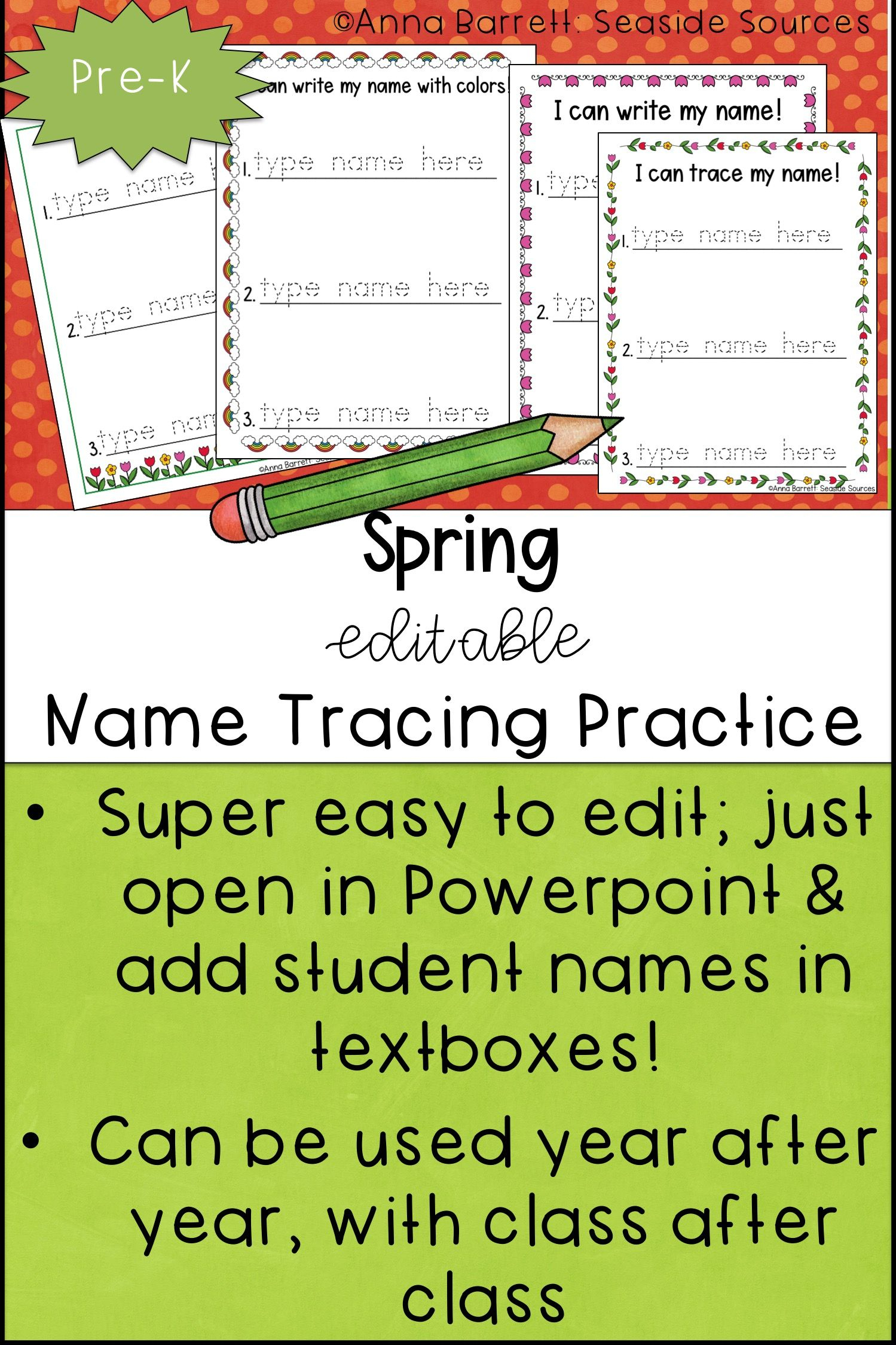 Spring Editable Name Tracing Practice | Name Tracing, Name regarding Name Tracing Practice Editable
