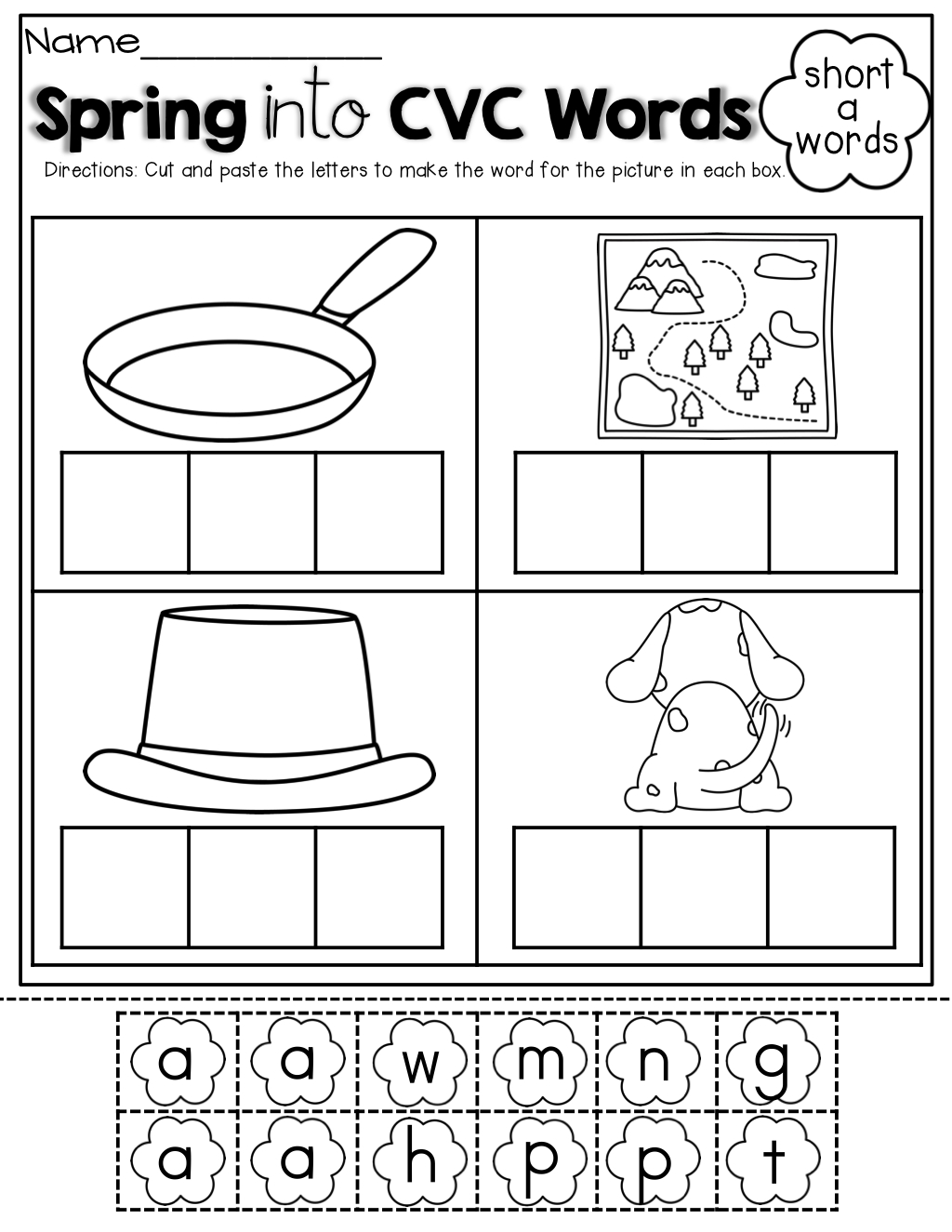 Spring Math And Literacy Packet (Kindergarten) | Cvc Words in Letter C Worksheets Cut And Paste