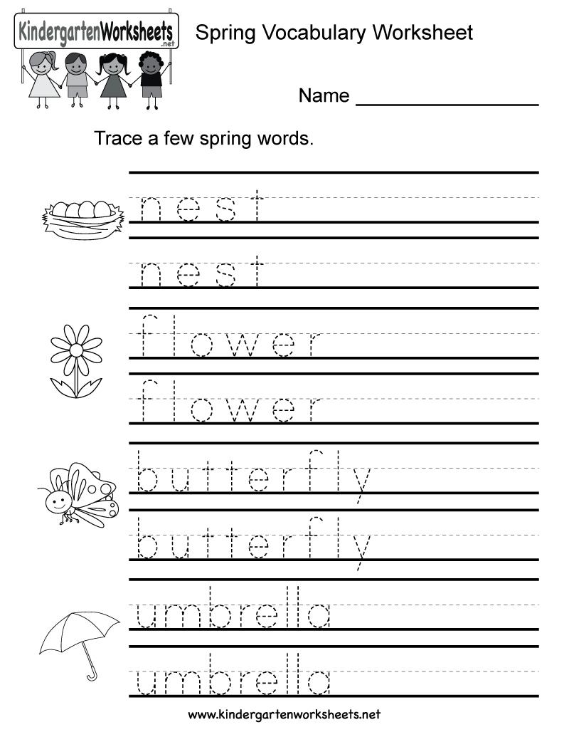 Spring Vocabulary Worksheet For Kindergarten Kids. Children for Name Tracing For Kindergarten Free