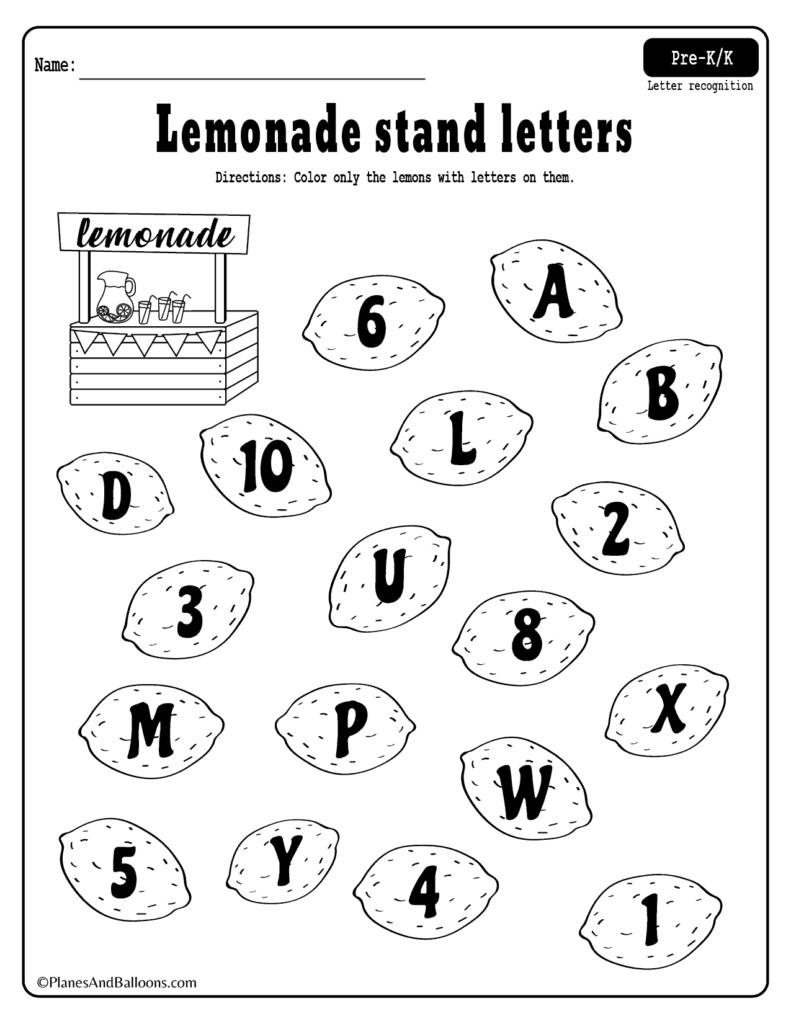 Summer Lemonade Fun: Letter Recognition Worksheets Pdf Set Inside Pre K Alphabet Recognition Worksheets