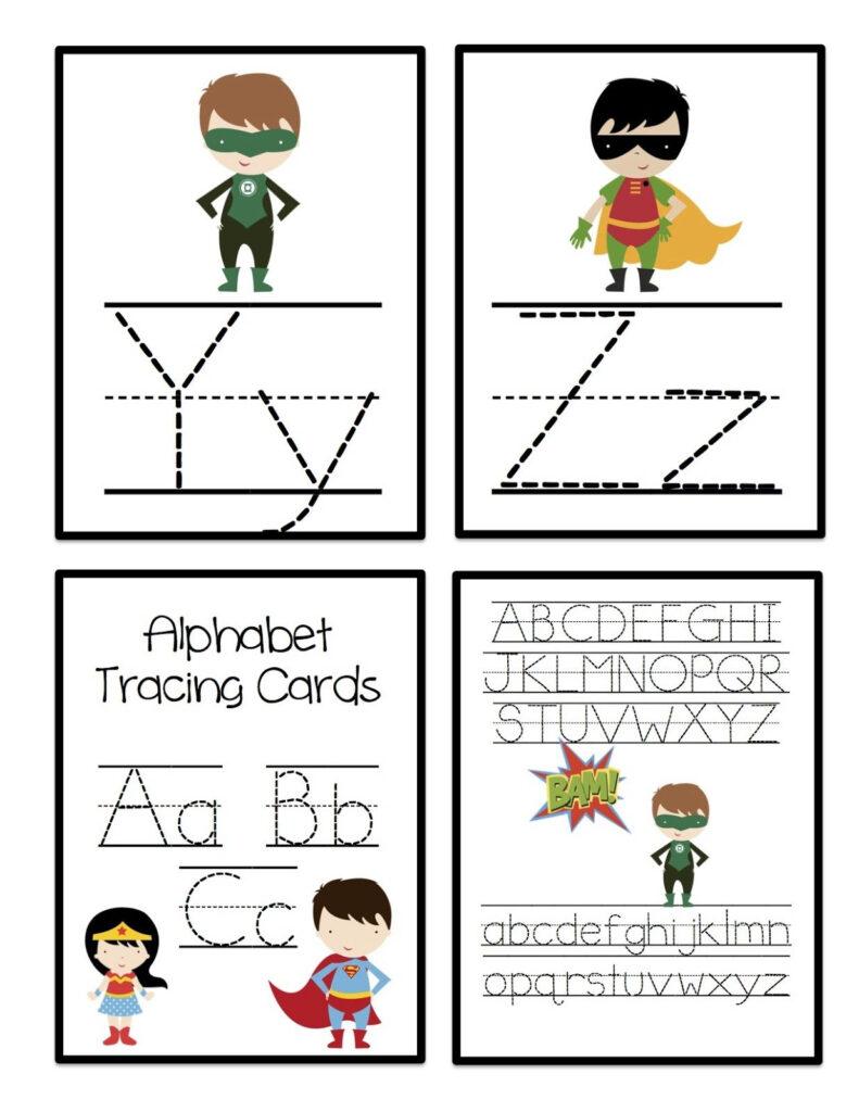 Super Hero Alphabet Tracing Cards | Alphabet Tracing Throughout Alphabet Tracing Cards