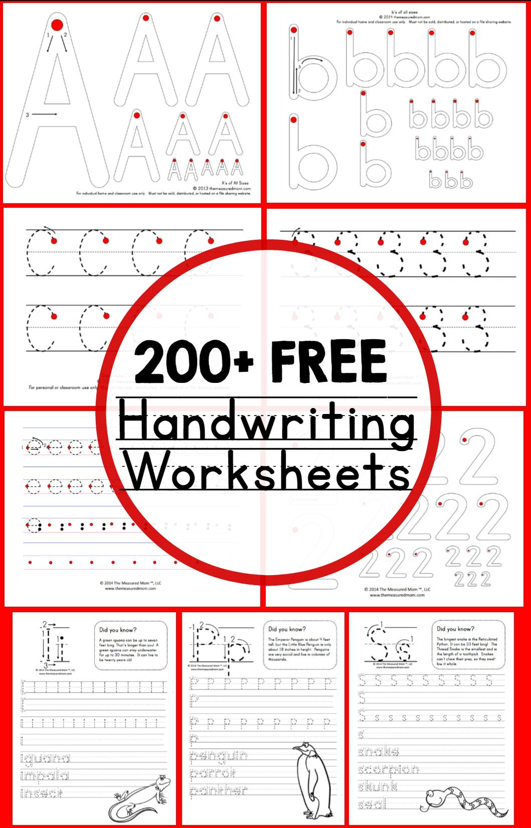 Teaching Handwriting - The Measured Mom with Pre-K Alphabet Handwriting Worksheets