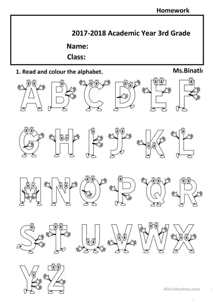 The Alphabet 2   English Esl Worksheets For Distance Inside Year 1 Alphabet Worksheets