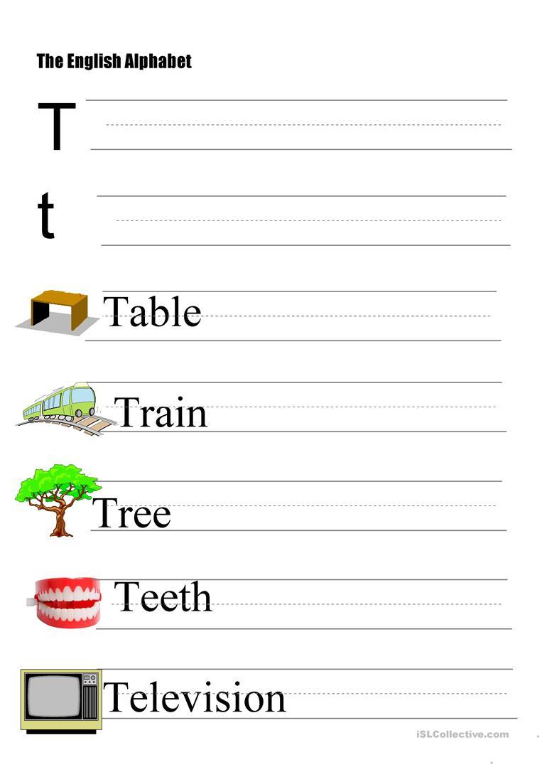 The Alphabet - Letter T - English Esl Worksheets For in T Letter Worksheets Kindergarten