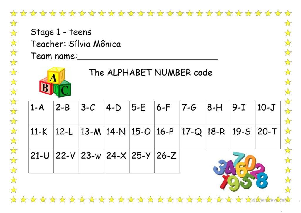 The Alphabet Number Code   English Esl Worksheets For For Alphabet Code Worksheets