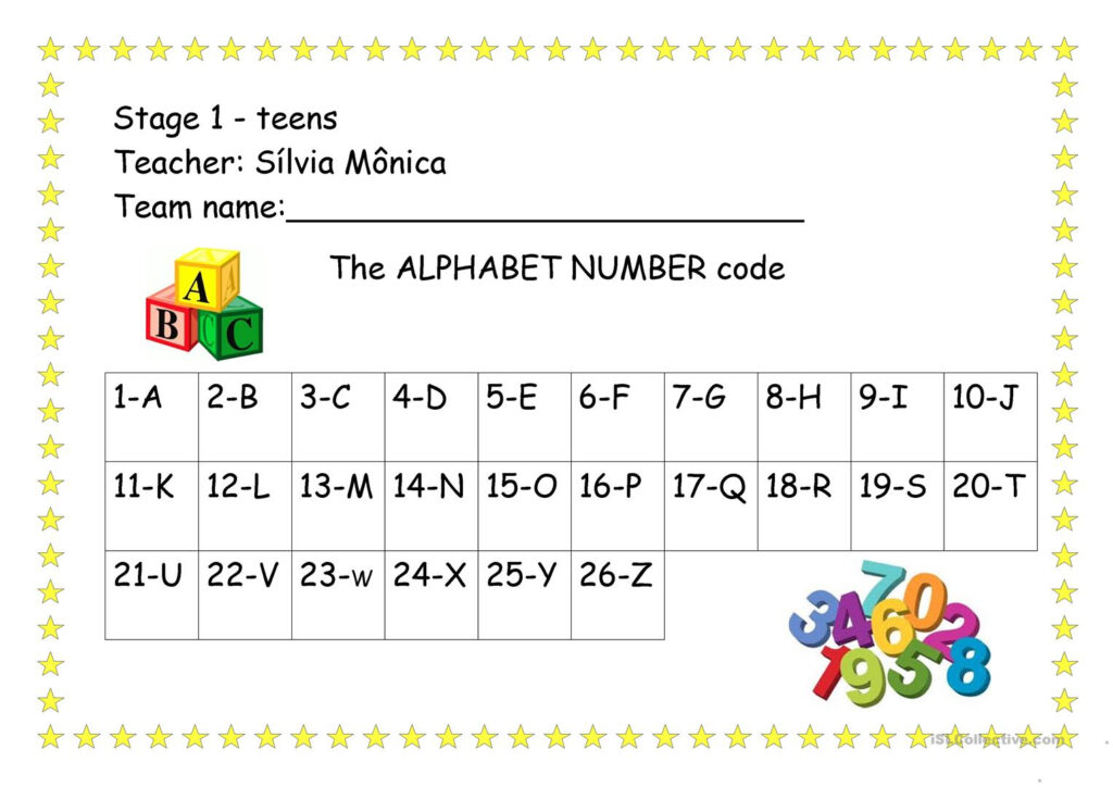 The Alphabet Number Code   English Esl Worksheets For For Alphabet Numbers Worksheets