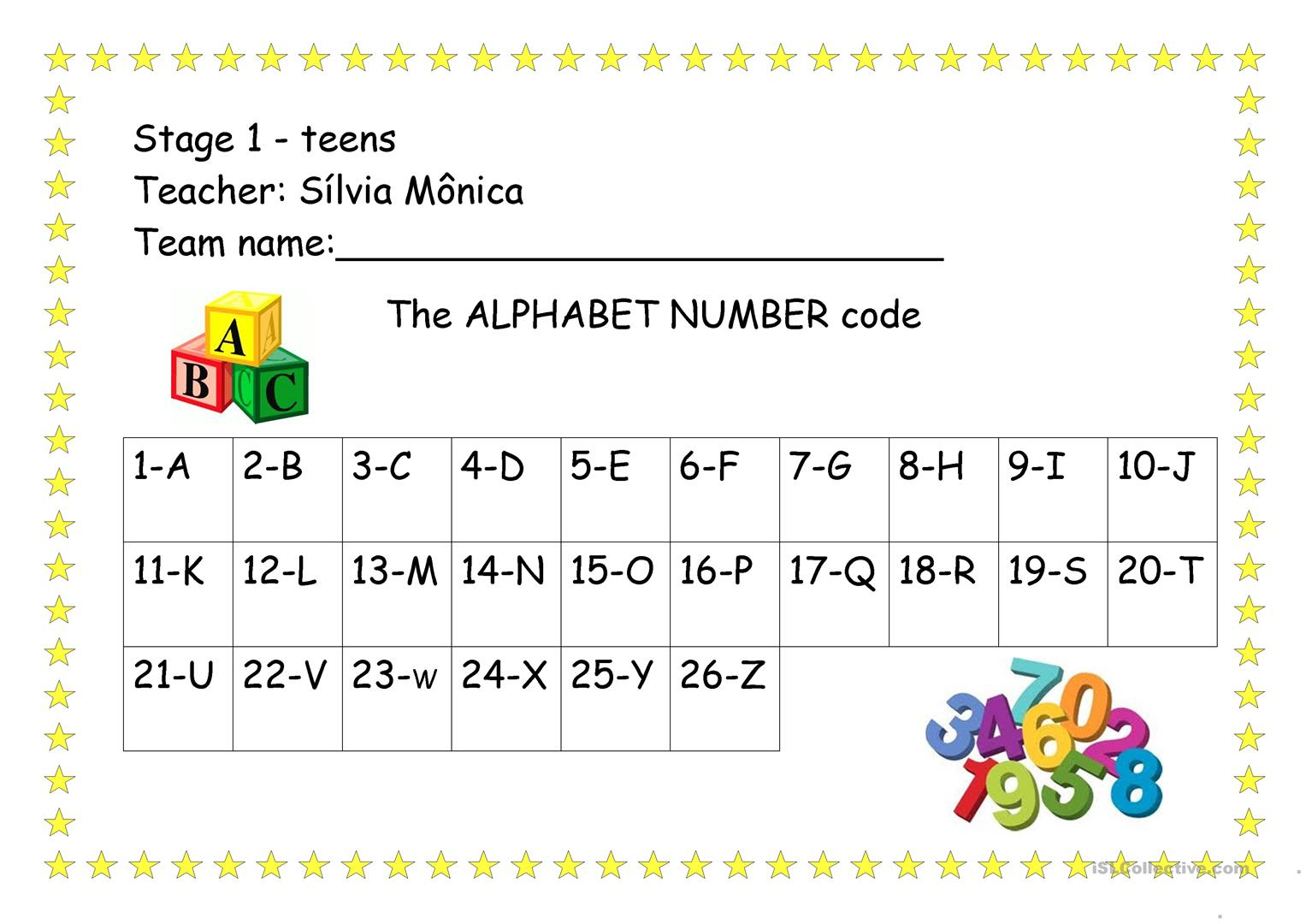 The Alphabet Number Code - English Esl Worksheets For for Alphabet Numbers Worksheets
